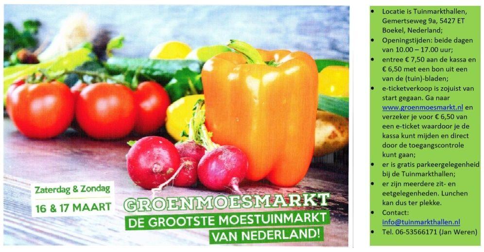 Info Groenmosmarkt 16 + 17 maart 2019